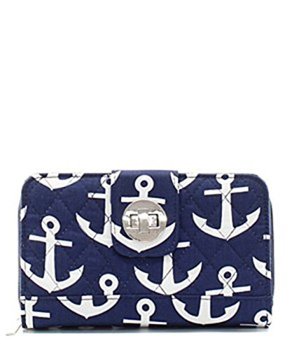 Quilted Navy Nautical Anchor Twist And Lock Wallet