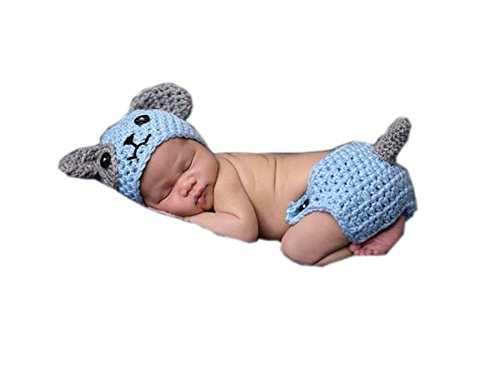Pinbo® Baby Boys Girls Photography Prop Crochet Animal Dog Hat Diaper Cover