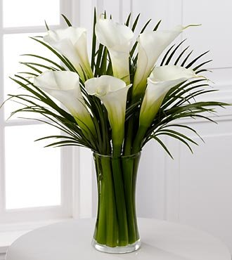 Endless Elegance Calla Lilies Flower Bouquet - 6 Stems - VASE INCLUDED