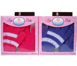 Swissco Exfoliating Bath Glove 2 Pair Set in Printed Box Assorted Colors (Single Piece)
