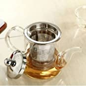 360ml Heart Resistant Clear Glass Tea Pot Tea Kettle With Stainless Steel Infuser