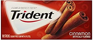 Trident Gum, Cinnamon (3-Pack), 18-Stick Packs (Pack of 5)