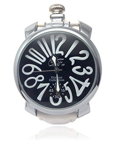 Stylish retro Italian watch Gaga Milano wind antique waterproof quartz leather belts mens Womens unisex analog watch original box set presents and palocci ♪ [Nexus] (white)