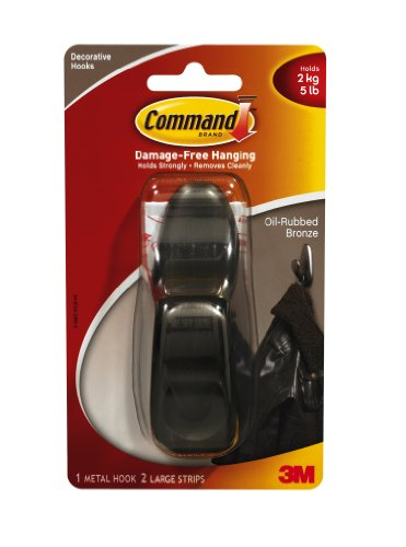 Command Forever Classic Large Metal Hook, Oil Rubbed Bronze front-415180
