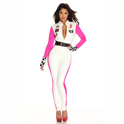 Women's Fp553433 Race Car Driver Costume Includes Lycra Jumpsuit With Patches