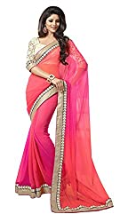 Shree fashion women's Top Fabrics semi stitched orange GEORGETTE saree