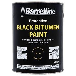 Barrettine 5L Black Bitumen Paint Drum - Concrete Metal - Water & Damp Proof Coating