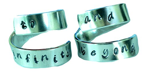 Personalized Ring Set - To Infinity and Beyond - Adjustable Hand Stamped Twist H…