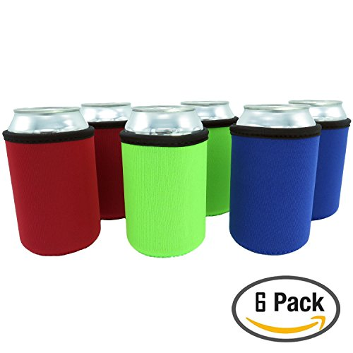 Beer Can Sleeves - Premium Set of 6 (Classic) Can Sleeves - Extra Thick Neoprene with Stitched Fabric Edges (Beer Can Coozie compare prices)