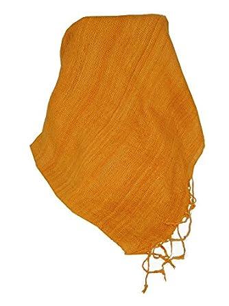 Premium Pure Raw Silk Long Scarf Hanoi Weave Tangerine by Pashmina & Silk