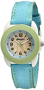 Sprout Women's ST1001LGIVLB  Corn Resin and Blue Organic Cotton Strap Watch