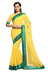 Anvi Yellow faux georgette designer saree with unstitched blouse (1489)