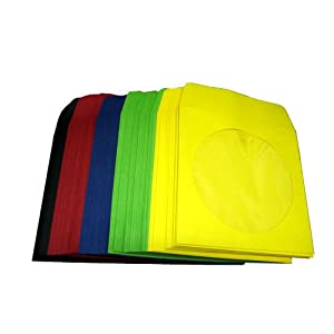 ASST CD Paper Sleeves - Red, Green, Blue, Yellow, Black - 100 Sleeves