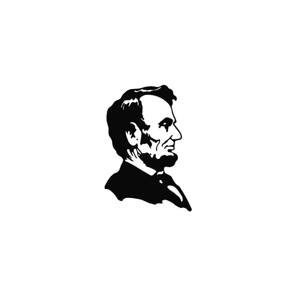 Abe Lincoln Die Cut Vinyl Decal Sticker   6.75 White