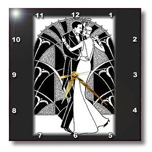 3drose Llc Art Deco Dancing Couple 10 By 10 Inch Wall Clock