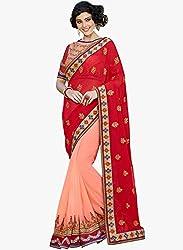 Shreenath Creation Women's Georgette Saree(Red)