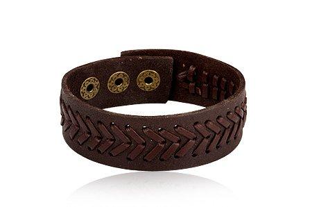 Fashion Dark Brown Leather Wrap Cuff Bracelet Men's Jewelry