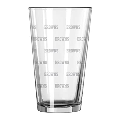 NFL Cleveland Browns Satin Etch Pint Glass Set (Pack of 2), 16-Ounce