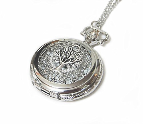 Tree-of-Life-Ornate-Silver-Pocket-Watch-Necklace-Chain-Pendant-Giving-Tree-Pocketwatch-Charm