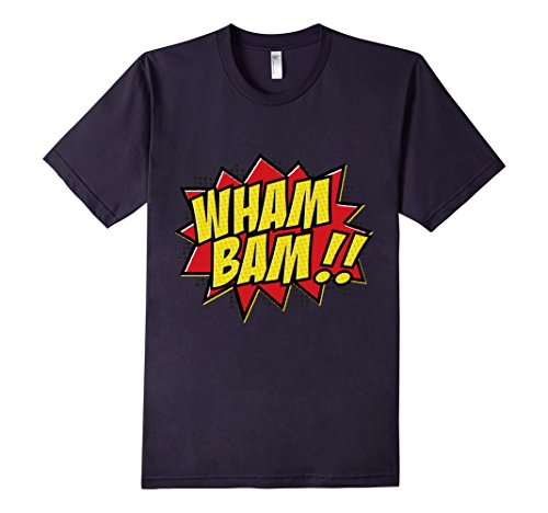 Mens-EmmaSaying-Wham-Bam-Pop-Art-Retro-Teen-Bazooka-Style-Shirt-Navy