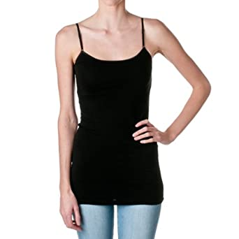 Plain Long Spaghetti Strap Tank Top Camis Basic Camisole Cotton (Small, Black)