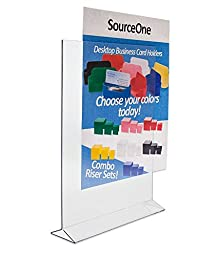Source One Deluxe Double Sided Clear Acrylic Sign Holder, Ad Frame - Menu Holder (8.5 x 11 3-Pack)