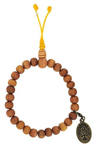 Tibetan Zen Buddhist Sandalwood Prayer Beads Wrist Mala Bracelet with Removable Charm (Oval Brass Tone Tree of Life)