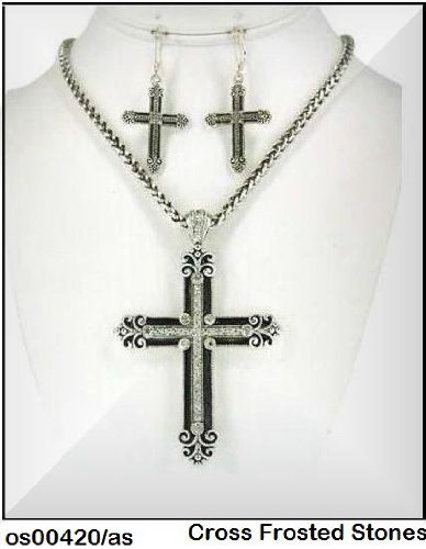 Necklace Set Designer Inspired Cross w/Brilliant Clear Stones OS00420/AS