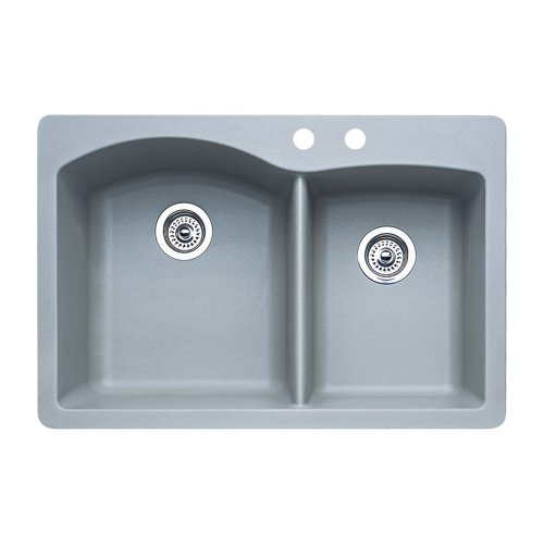 Blanco 440214-2 Diamond 2-Hole Double-Basin Drop-In or Undermount Granite Kitchen Sink, Metallic Grey
