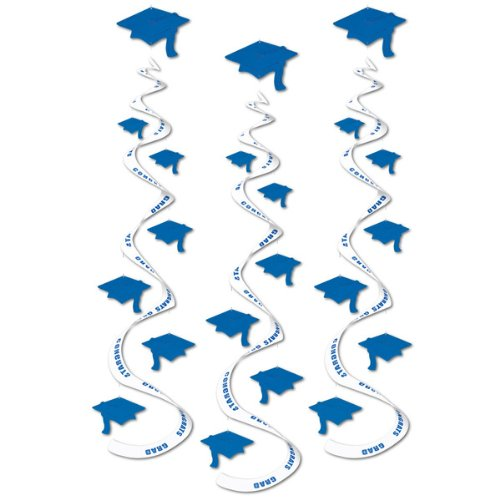 Printed Grad Cap Whirls (blue)    (3/Pkg)