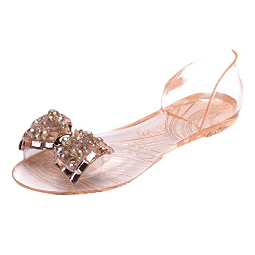 Womail Plastic Bohemia Jelly Bowknot Loafers Slippers Beach Sandals Shoes (40, Rose Gold) (Heeled Jelly Sandals compare prices)