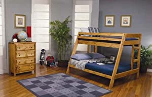 Coaster Rustic Wood Twin over Full Bunk Bed in Natural Wood Finish from Coaster