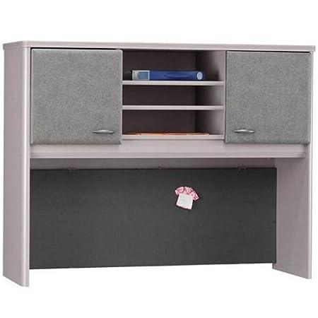 """Hutch 3 Open Shelves 48""""W Sienna Walnut Doors/Bronze Base"""