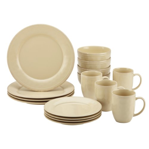 Rachael Ray Cucina 16-Piece Stoneware Dinnerware Set, Almond Cream (Cream Dinnerware Set compare prices)