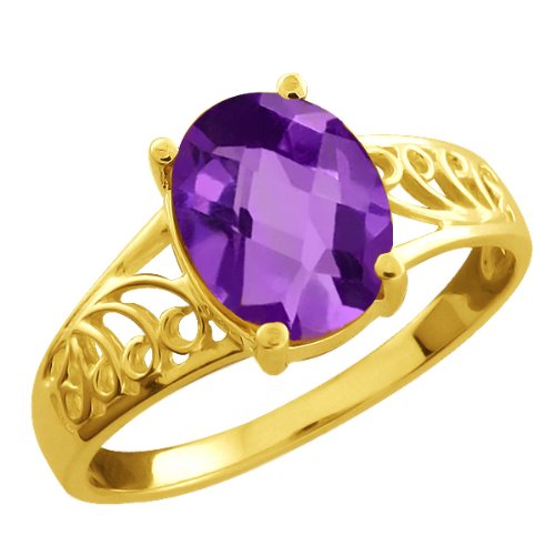 1.60 Ct Checkerboard Purple Amethyst Gold Plated Sterling Silver Ring
