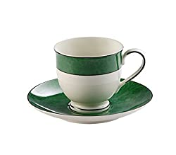 Hitkari Potteries Cup and Saucer Set, 12-Pieces, Green