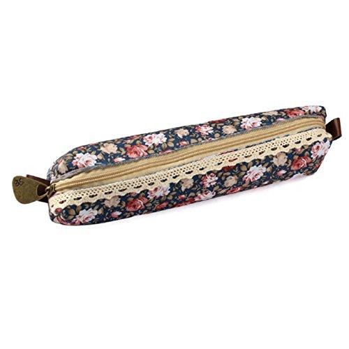 Pooqdo(TM) Flower Print Lace Pen Pencil Case Makeup Cosmetic Bag Pouch Purse (blue)