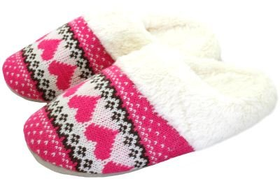 Ladies Knitted Fairisle Fur Lined Mule Slippers Pink & Cream Mix Size 3-4