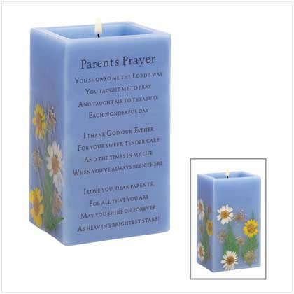 Prayer For Parents Vanilla Scent Scented Pillar Candle
