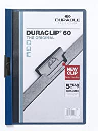 Durable Duraclip 223807 Clip Folder for 1-60 A4 Sheets - Dark Blue (Pack of 5)