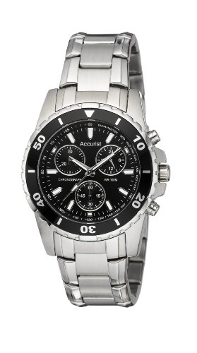 Accurist MB829 Gents Stainless Steel Chronograph Bracelet Watch with Black Dial