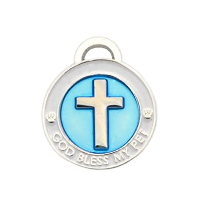 Luxepets Pet Collar Charm, Cross, Small, Blue