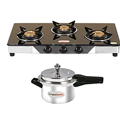 Bright Flame 3 Burner Black & Aluminium Pressure Cooker 3 Ltr