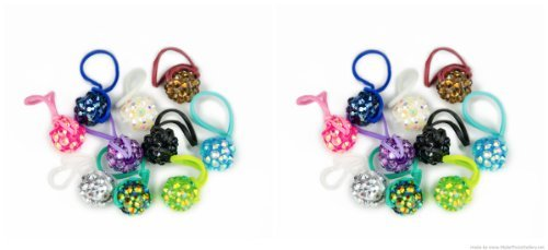 U-B Rainbow Glitter Charms for Rainbow Loom- (20 Charms) with Charm Carrying Case - 1