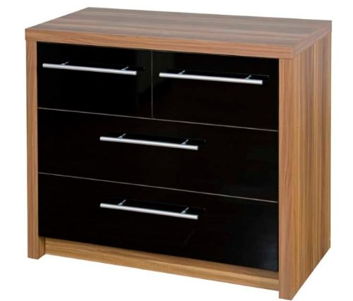 Chest of Drawers Walnut Black Gloss 4 Drawer Bedroom Furniture Kensington