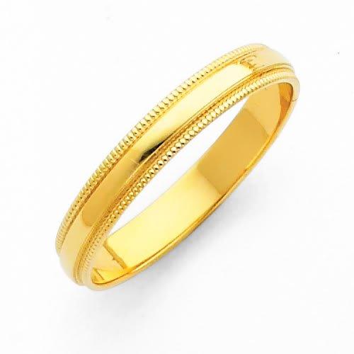 14K Yellow Gold 3mm Plain Milgrain Wedding Band Ring for Men & Women - Size 12
