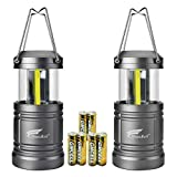 2 Pack portable Camping Lantern with Magnetic Base, Hausbell cob LED Camping lantern collapsible Flashlights - Survival Kit for Emergency, Hurricane,