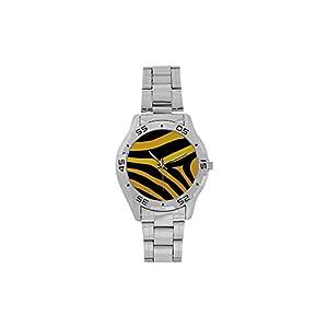 Men's or Boys' Design Yellow Black Zebra Print Pattern Stainless-Steel Analog Watch Photo Watch Sliver Metal Case