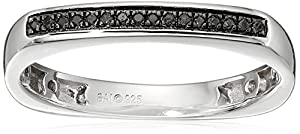 Sterling Silver Black Diamond Band Ring, Size 7