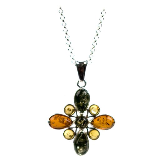 Sterling Silver Multi-Color Amber Flower Pendant Necklace , 18